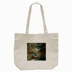 Colorful Peacock Feathers Background Tote Bag (cream) by Simbadda