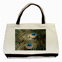 Colorful Peacock Feathers Background Basic Tote Bag by Simbadda
