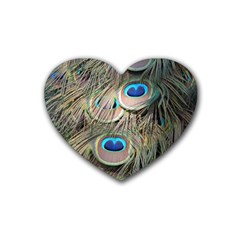 Colorful Peacock Feathers Background Rubber Coaster (heart)  by Simbadda