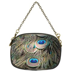Colorful Peacock Feathers Background Chain Purses (two Sides)  by Simbadda