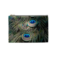 Colorful Peacock Feathers Background Cosmetic Bag (medium)  by Simbadda