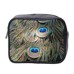 Colorful Peacock Feathers Background Mini Toiletries Bag 2 Side by Simbadda