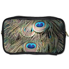 Colorful Peacock Feathers Background Toiletries Bags by Simbadda