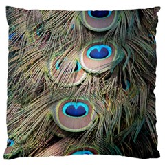 Colorful Peacock Feathers Background Large Cushion Case (two Sides) by Simbadda