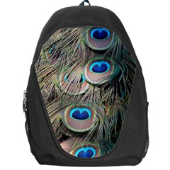 Colorful Peacock Feathers Background Backpack Bag by Simbadda