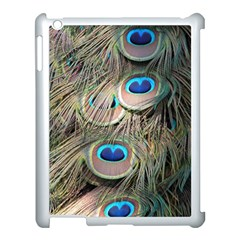 Colorful Peacock Feathers Background Apple Ipad 3/4 Case (white) by Simbadda