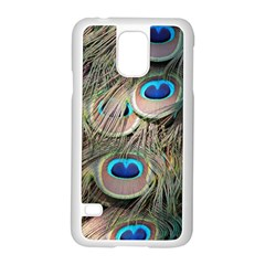 Colorful Peacock Feathers Background Samsung Galaxy S5 Case (white) by Simbadda