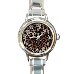 Background Fabric Animal Motifs Round Italian Charm Watch by Simbadda