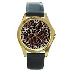 Background Fabric Animal Motifs Round Gold Metal Watch by Simbadda