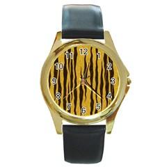 Seamless Fur Pattern Round Gold Metal Watch