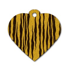 Seamless Fur Pattern Dog Tag Heart (one Side)
