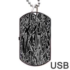 Gray Background Pattern Dog Tag Usb Flash (one Side) by Simbadda