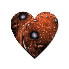 Fractal Peacock World Background Heart Magnet by Simbadda