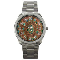 Peacock Pattern Background Sport Metal Watch by Simbadda