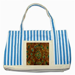 Peacock Pattern Background Striped Blue Tote Bag by Simbadda