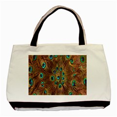 Peacock Pattern Background Basic Tote Bag (two Sides) by Simbadda
