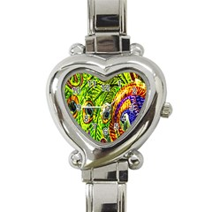 Glass Tile Peacock Feathers Heart Italian Charm Watch by Simbadda