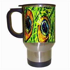 Glass Tile Peacock Feathers Travel Mugs (white) by Simbadda