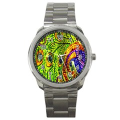 Glass Tile Peacock Feathers Sport Metal Watch
