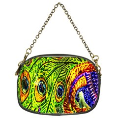 Glass Tile Peacock Feathers Chain Purses (one Side)  by Simbadda