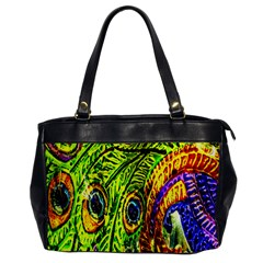Glass Tile Peacock Feathers Office Handbags by Simbadda