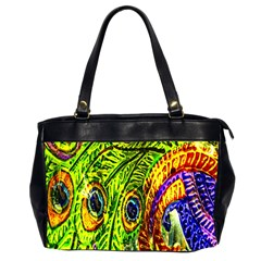 Glass Tile Peacock Feathers Office Handbags (2 Sides)  by Simbadda