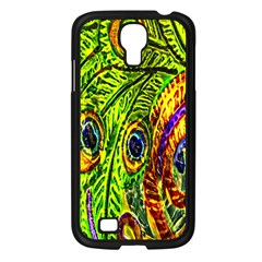 Glass Tile Peacock Feathers Samsung Galaxy S4 I9500/ I9505 Case (black) by Simbadda
