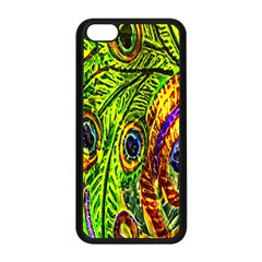 Glass Tile Peacock Feathers Apple Iphone 5c Seamless Case (black) by Simbadda