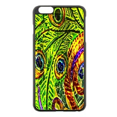 Glass Tile Peacock Feathers Apple Iphone 6 Plus/6s Plus Black Enamel Case by Simbadda