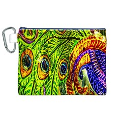 Glass Tile Peacock Feathers Canvas Cosmetic Bag (xl) by Simbadda