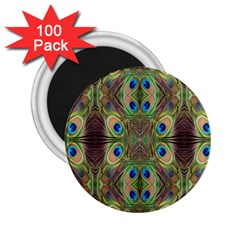 Beautiful Peacock Feathers Seamless Abstract Wallpaper Background 2 25  Magnets (100 Pack)  by Simbadda