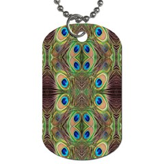 Beautiful Peacock Feathers Seamless Abstract Wallpaper Background Dog Tag (two Sides) by Simbadda