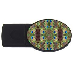 Beautiful Peacock Feathers Seamless Abstract Wallpaper Background Usb Flash Drive Oval (4 Gb) by Simbadda