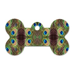 Beautiful Peacock Feathers Seamless Abstract Wallpaper Background Dog Tag Bone (one Side) by Simbadda