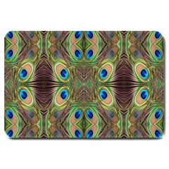 Beautiful Peacock Feathers Seamless Abstract Wallpaper Background Large Doormat  by Simbadda