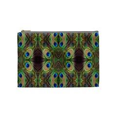 Beautiful Peacock Feathers Seamless Abstract Wallpaper Background Cosmetic Bag (medium)  by Simbadda