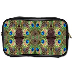 Beautiful Peacock Feathers Seamless Abstract Wallpaper Background Toiletries Bags 2 Side by Simbadda