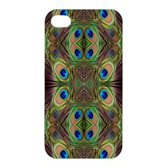Beautiful Peacock Feathers Seamless Abstract Wallpaper Background Apple Iphone 4/4s Hardshell Case by Simbadda