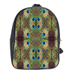 Beautiful Peacock Feathers Seamless Abstract Wallpaper Background School Bags (xl)  by Simbadda