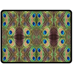 Beautiful Peacock Feathers Seamless Abstract Wallpaper Background Double Sided Fleece Blanket (large)  by Simbadda