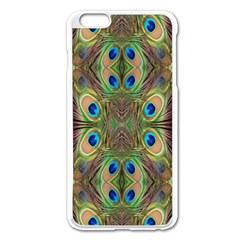Beautiful Peacock Feathers Seamless Abstract Wallpaper Background Apple Iphone 6 Plus/6s Plus Enamel White Case by Simbadda
