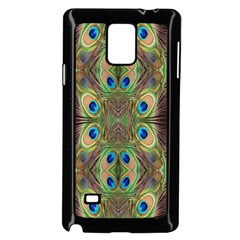 Beautiful Peacock Feathers Seamless Abstract Wallpaper Background Samsung Galaxy Note 4 Case (black) by Simbadda