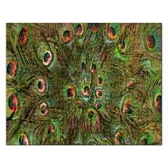 Peacock Feathers Green Background Rectangular Jigsaw Puzzl