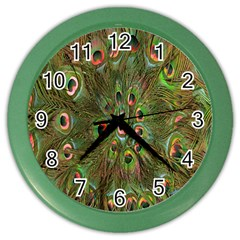 Peacock Feathers Green Background Color Wall Clocks by Simbadda