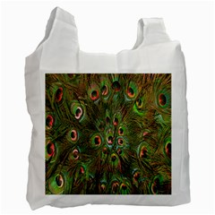 Peacock Feathers Green Background Recycle Bag (one Side) by Simbadda