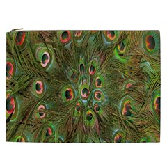 Peacock Feathers Green Background Cosmetic Bag (xxl)  by Simbadda