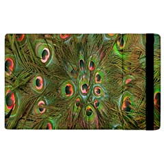 Peacock Feathers Green Background Apple Ipad 3/4 Flip Case by Simbadda