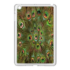 Peacock Feathers Green Background Apple Ipad Mini Case (white) by Simbadda
