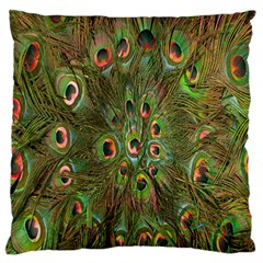 Peacock Feathers Green Background Standard Flano Cushion Case (two Sides) by Simbadda
