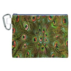 Peacock Feathers Green Background Canvas Cosmetic Bag (xxl) by Simbadda